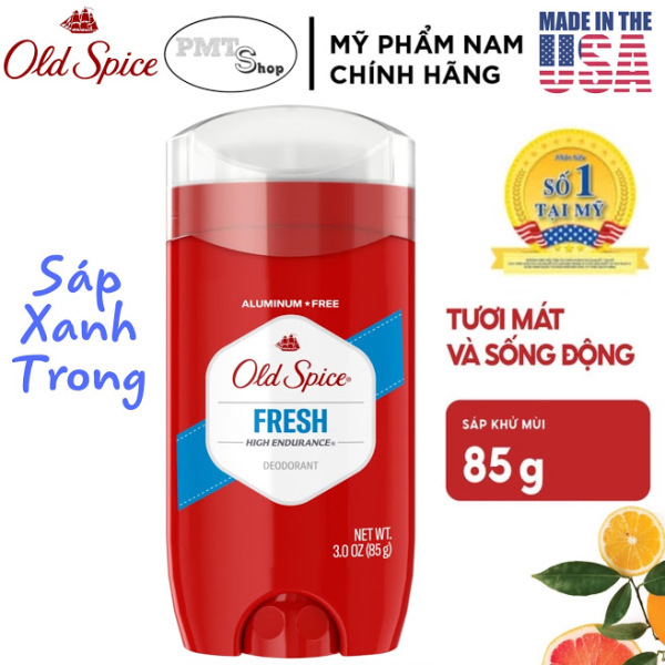 [USA] Lăn sáp khử mùi nam Old Spice Fresh Đỏ (sáp xanh trong) 85g - Mỹ nhập khẩu