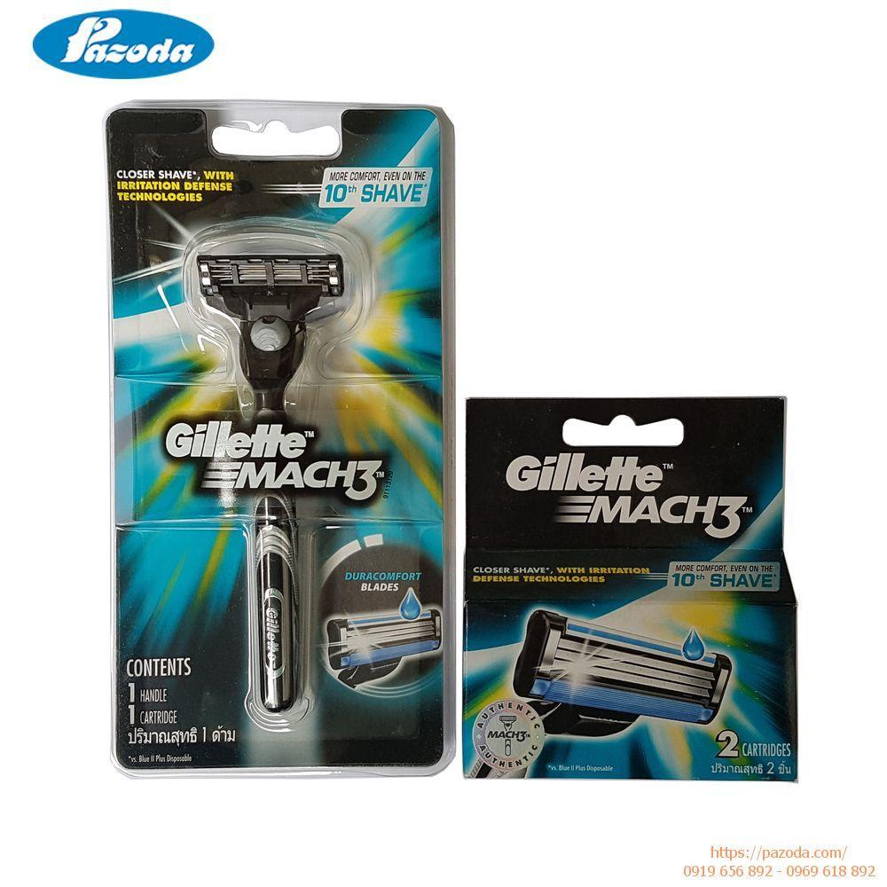 Combo Dao Cạo Râu Gillette Mach3 (Cán Dao + Lưỡi Dao) + Hộp lưỡi vỉ 2 cái - Mach 3