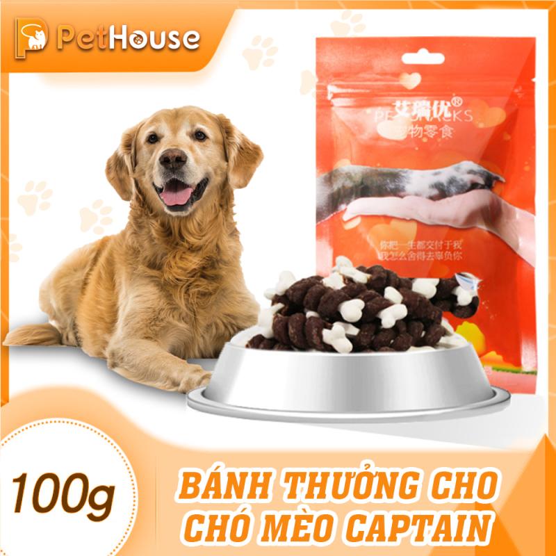 Bánh thưởng cho chó Captain (Bò cuốn xương sữa) (100gr/6-8 cây nhỏ)
