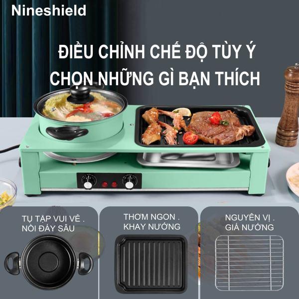 Bếp lẩu nướng đa năng Nineshield DKS-303 công suất lớn 2200W điều chỉnh nhiệt riêng biệt