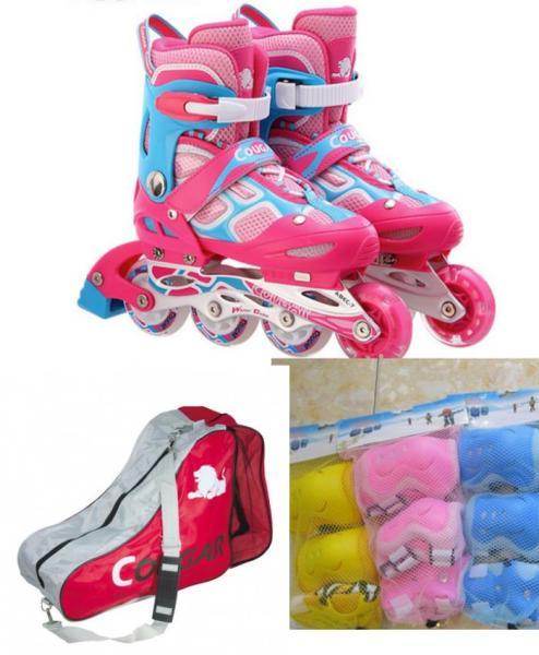 Phân phối [Lấy mã giảm thêm 30%]ComboChọn Bộ Giày Trượt Patin Cougar835LSG - Có Đèn - Kèm Bộ Bảo Vệ(Gối KhuỷuTay)Và Túi Đựng Giày