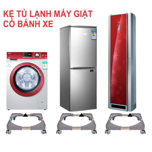 Kệ để tủ lạnh, máy giặt có bánh xe. (Xám)