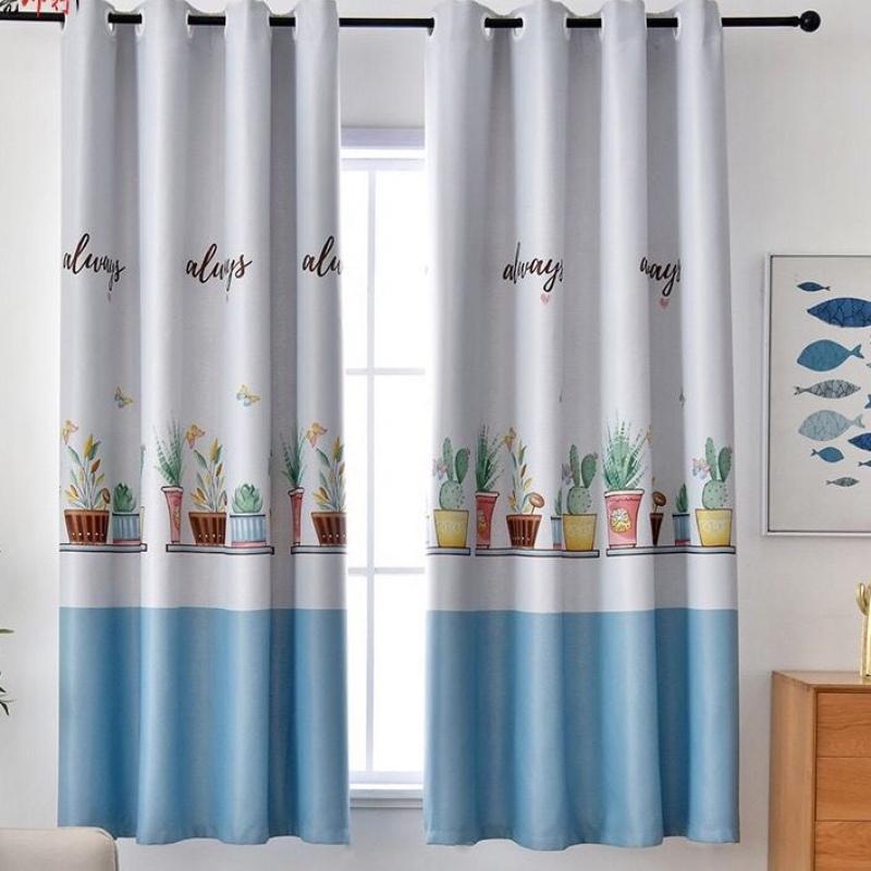 Rèm vải dày cao cấp ( có sẵn khoen tròn ) 2m cao - chậu hoa ( xanh )
