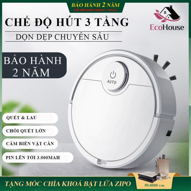 Robot hút bụi lau nhà tự động - Hút sạch bụi bẩn, tóc rụng, lông động vật, dễ dàng làm sạch các vị trí khó như gầm giường tủ gầm ghế sofa - Chỉ số độ ồn thấp vận hành êm - Thời lượng pin lâu - Giá tốt, bảo hành 2 năm