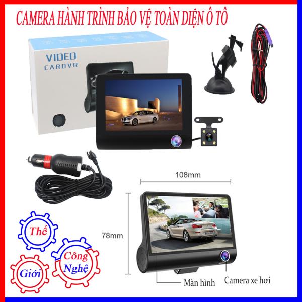 Camera hành trình kép dành cho xe ô tô , Dashcam màn hình 4 inch FULL HD, Cam hành trình OTO 3 mắt bảo vệ toàn diện, Camera hành trình thông minh bảo vệ xế yêu của bạn 24H- Camera hành trình mini-Camera hành trình