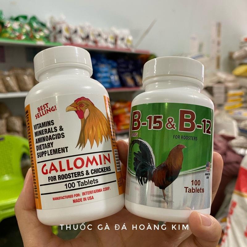 Combo Gallomin + B15&b12 - Tăng bo và nước máu cho gà chế độ đá