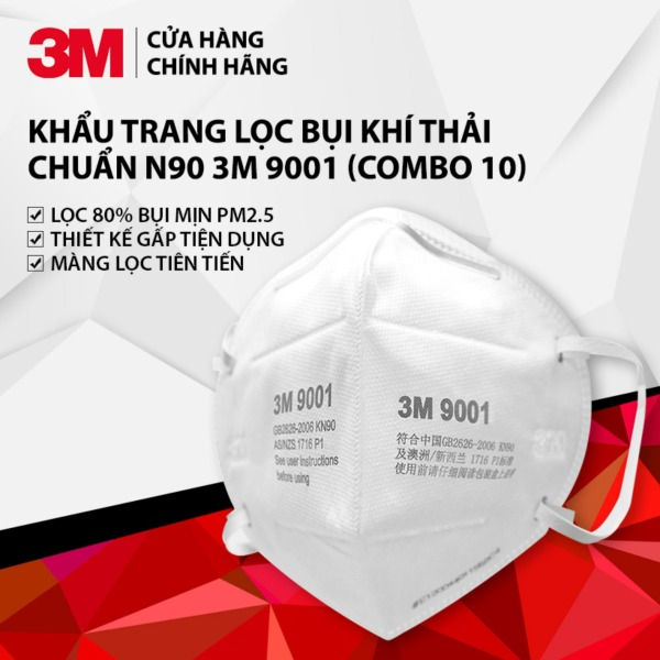 (set 10 cái) Khẩu Trang 3M 9001 Lọc Bụi Mịn PM2.5 & Khí Thải Đạt Chuẩn N90 3M - Hàng Chính Hãng
