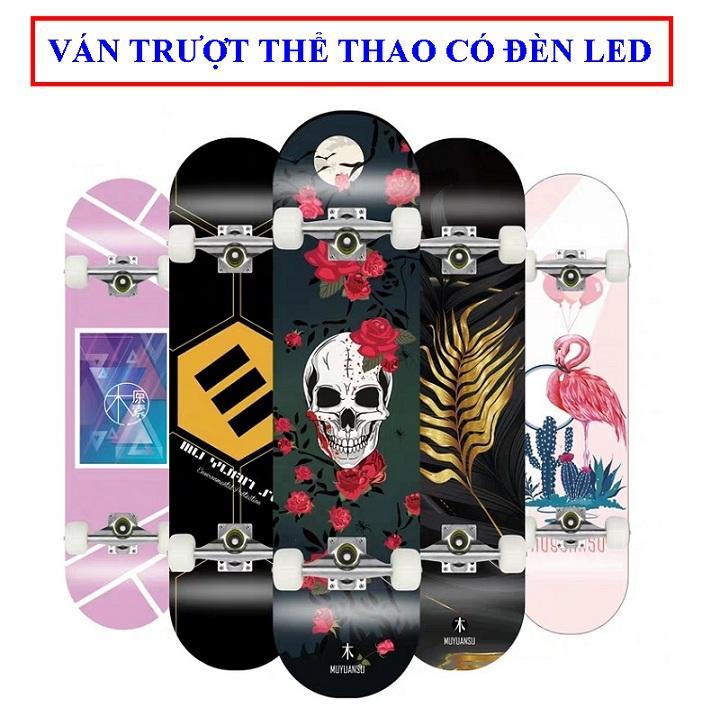 Bảng giá Ván trượt skateboard thể thao có đèn led chất liệu gỗ phong ép cao cấp 8 lớp mặt nhám