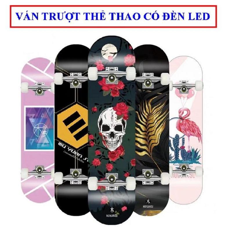 Giá bán Ván trượt skateboard thể thao có đèn led chất liệu gỗ phong ép cao cấp 8 lớp mặt nhám