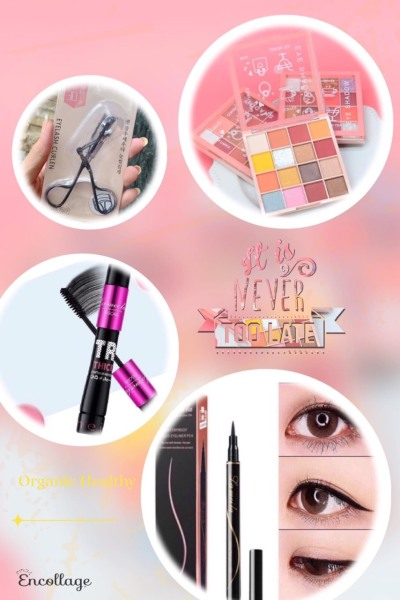 Bộ trang điểm mắt 4 món gồm phấn mắt 12 màu, Mascara, bấm mi, kẻ mắt nước