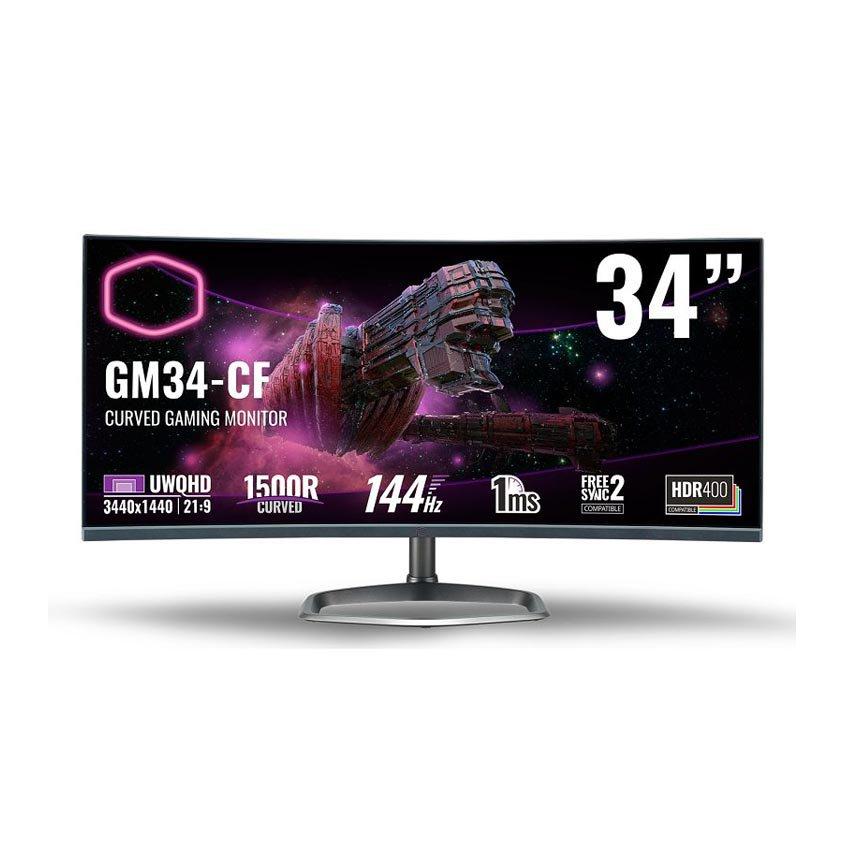 Màn hình Cooler Master GM34-CW (34 inch/2K/VA/144Hz/1ms/400 nits/HDMI+DP/Loa/GSync+FreeSync2)