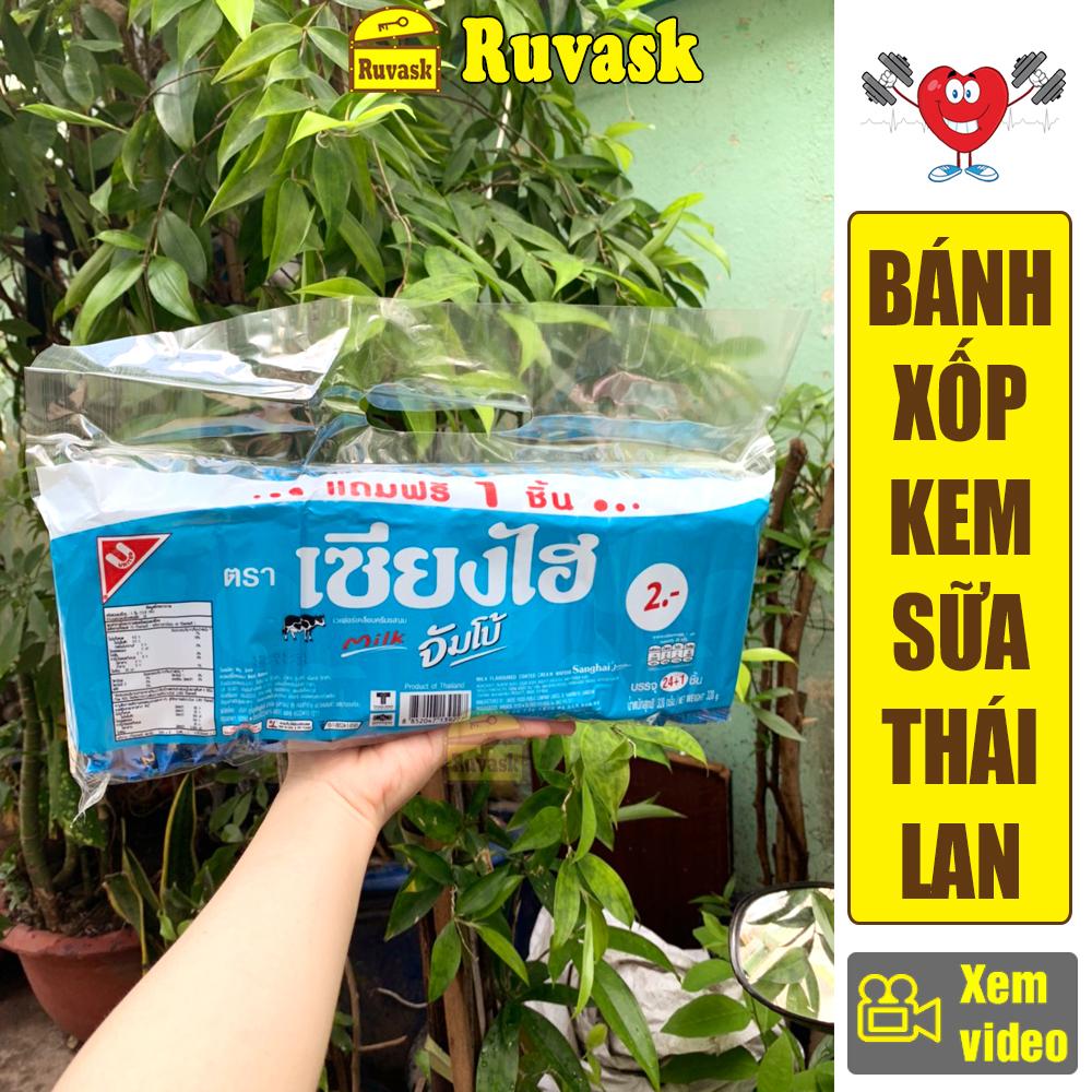 Bánh Xốp Kem Thái Lan Sanghai Jumbo 320g - Bánh Xốp Phủ Nhân Kem Sữa - Đồ Ăn Vặt Nội Địa Thái Lan Ngon Giá Rẻ - Bánh Kẹo Ăn Vặt - Ruvask