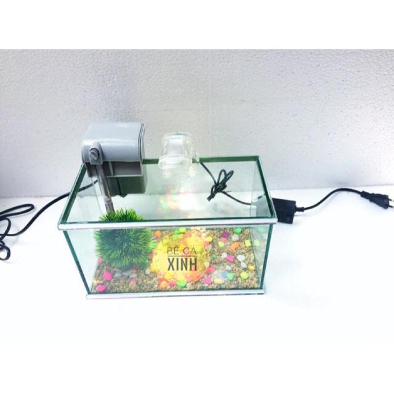 Bể cá mini viền gương 25cm kèm Lọc , Đèn - Bể mini viền gương (tặng phụ kiện và thức ăn cá)