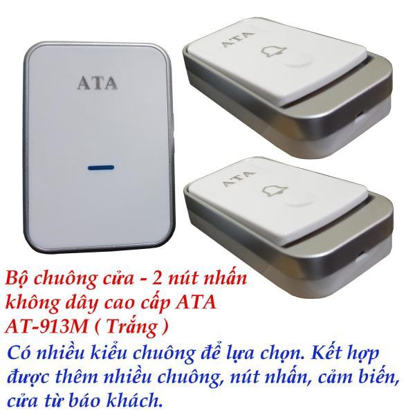 Bộ chuông cửa - 2 nút nhấn không dây loại tốt ATA AT-913M . Nhiều kiểu nhạc chuông. Kết nối đa năng.