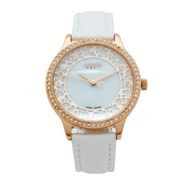 Đồng hồ nữ Julius JA-852C dây da mặt in hoa văn tuyệt đẹp
