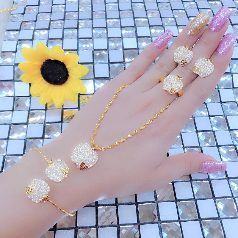 Bộ Nữ Trang Vàng Trắng - Givishop - B4090724 - Bền Màu, Sáng Như Vàng Thật, Chất Liệu Bạc Thái, Không Đen - Thiết Kế Đi Tiệc - { lắc tay nữ vàng 18k, bộ nữ trang cưới vàng 24k, bộ nữ trang vàng trắng, vàng cưới bộ, lắc tay nữ bằng vàng}