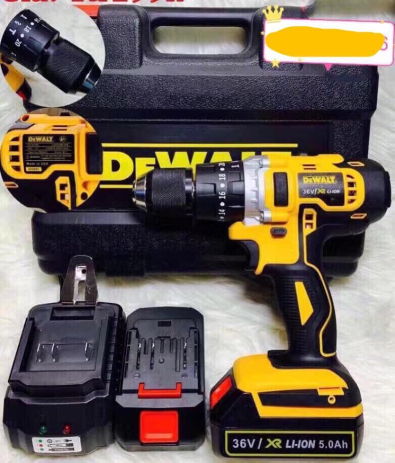 Máy Khoa Pin Cầm Tay DEWALT DW36 36V 2 Pin Có Búa MẪU 2019, khoan pin đầu kẹp 13mm