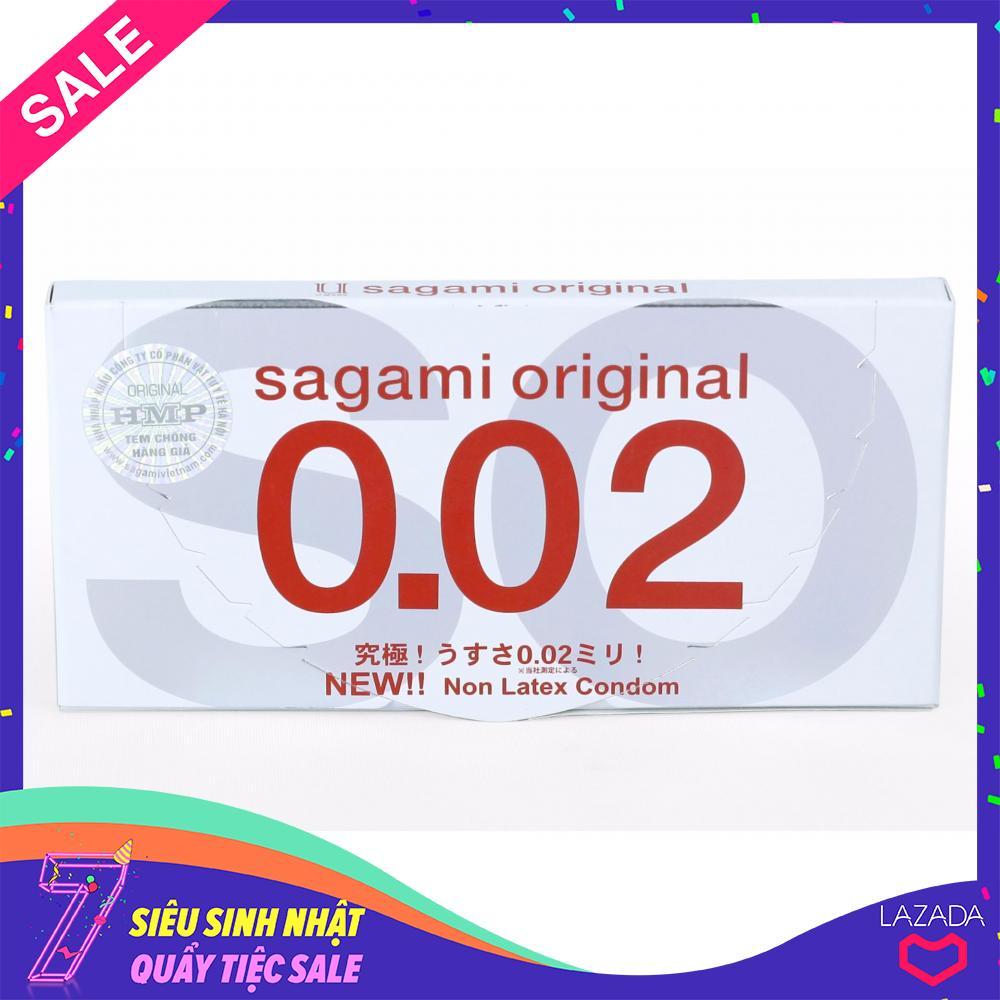 Bao cao su Cực siêu mỏng Sagami Original 0.02mm - Hộp 2 cái nhập khẩu