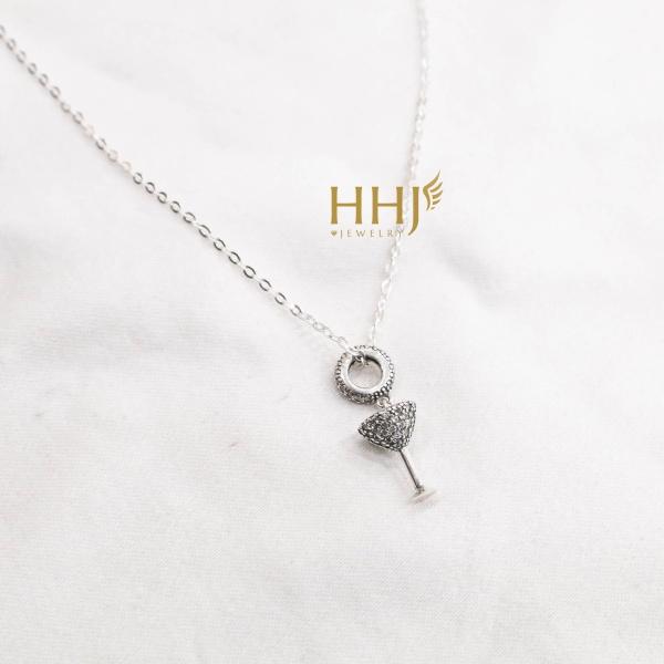 Dây chuyền charm lưu ly đính đá - HHJ - Bạc S95