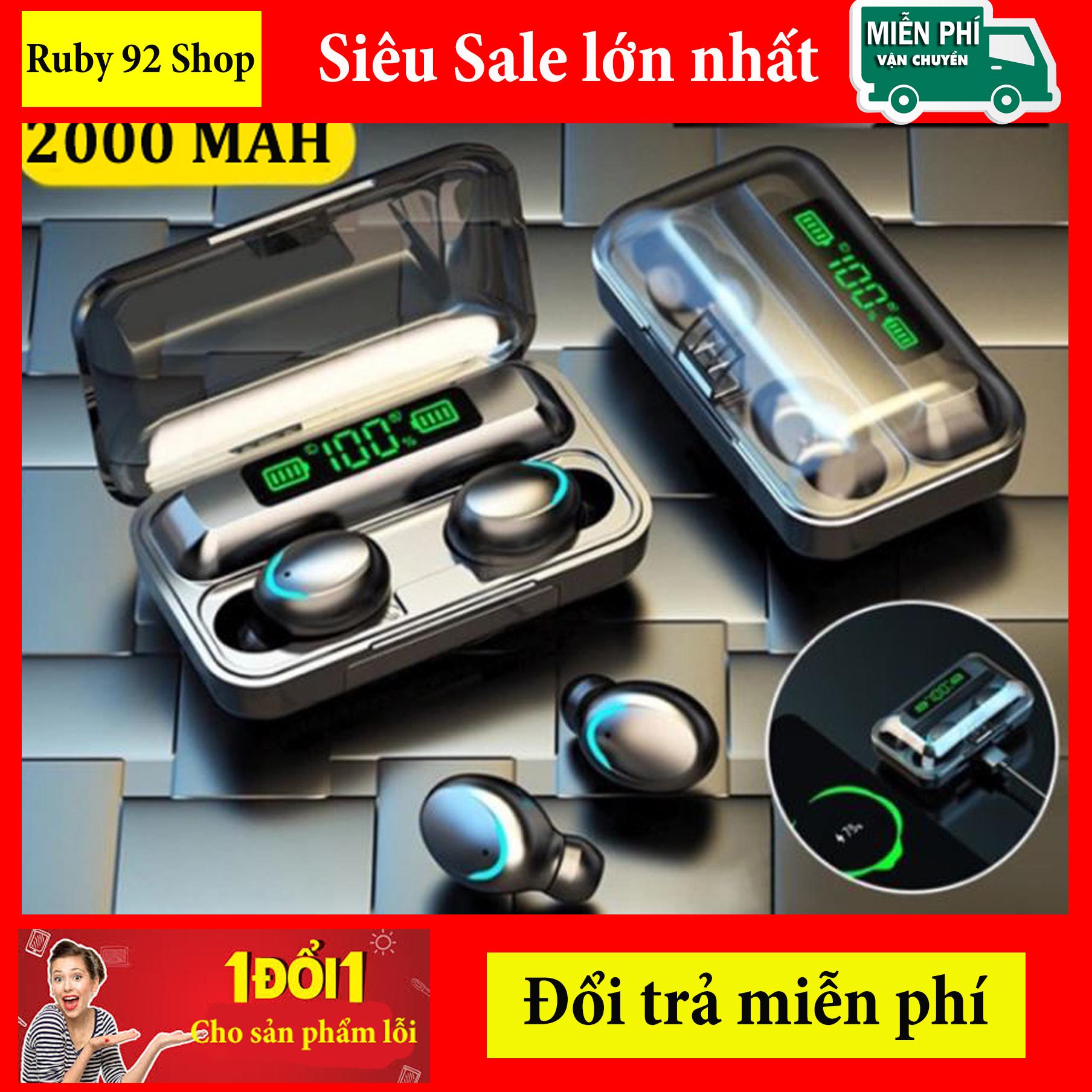 Tai Nghe Bluetooth Không Dây F9 5 cao cấp-Micro HD, Chống Nước - Tai nghe bluetooth pin trâu - Tai nghe nhét tai không dây - Tai nghe không dây pin trâu 3500 maH