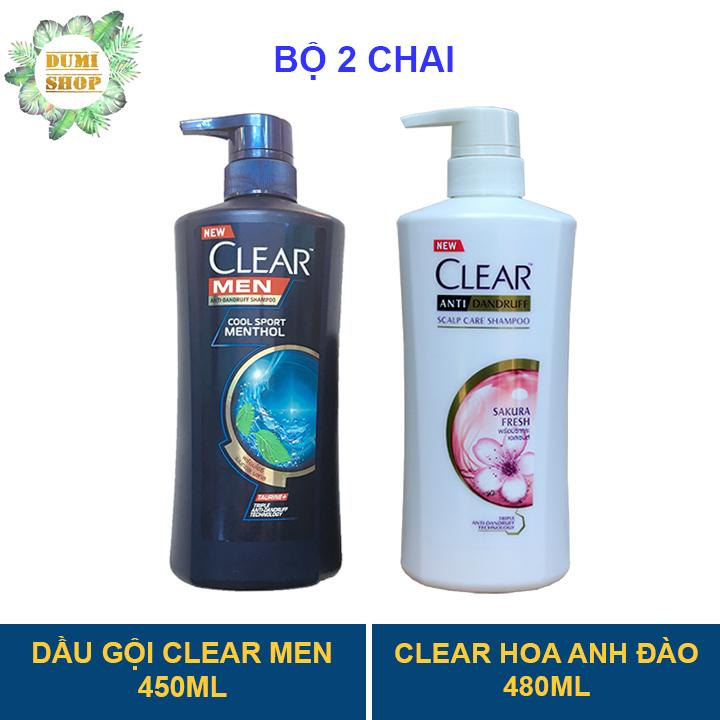Bộ 2 chai dầu gội Clear Men 450ml và Clear Hoa Anh Đào 480ml nhập khẩu