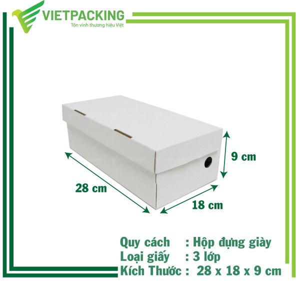 [HỘP GIÀY] 25 Hộp carton đựng giày 28x18x9 cực đẹp