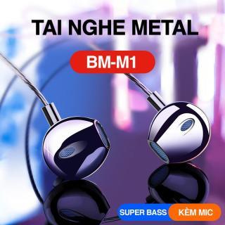 Tai nghe chống rối âm bass siêu đỉnh bọc kim loại 2 đầu sang trọng có mic thoại jack 3.5mm màu đen thương hiệu Bagi - Thương hiệu Việt Nam bảo hành 12 tháng thumbnail