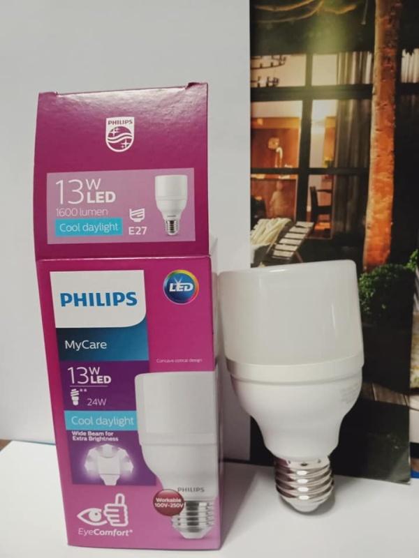 Bóng led mycare bright  13W trắng, vang Philips