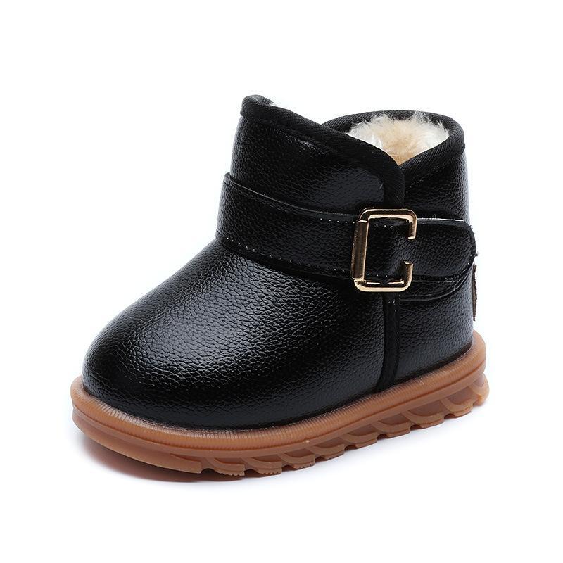 2018 Loại Mùa Đông Mới Trẻ Em Giày Cotton Nhung Dày Ấm Đế Mềm Chống Nước Bé Trai Và Bé Gái Boot Đi Tuyết Bé Bốt Cổ Ngắn