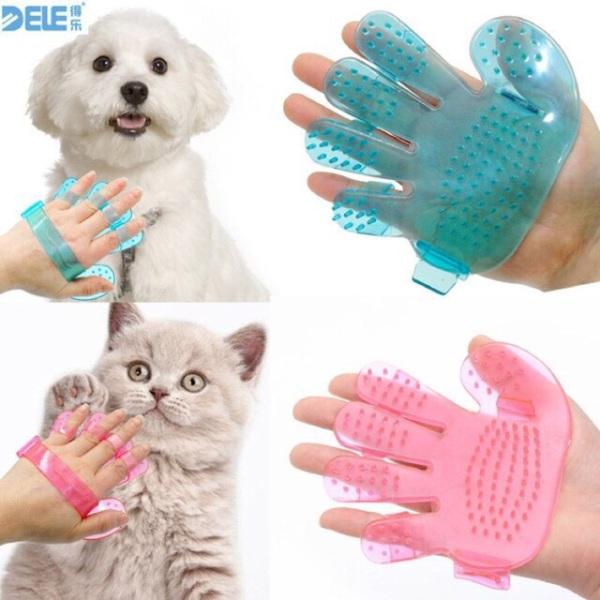 Găng Tay Nhựa Chải Lông Tắm & Massage Cho Chó Mèo