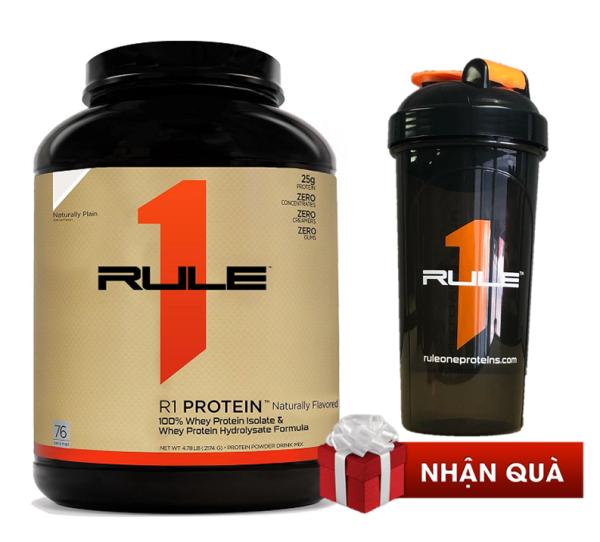 Whey protein tự nhiên không mùi Rule 1 Protein Natural Plain 5.3lb/ 76 serving/ 2.46kg tặng bình lắc R1 Shaker