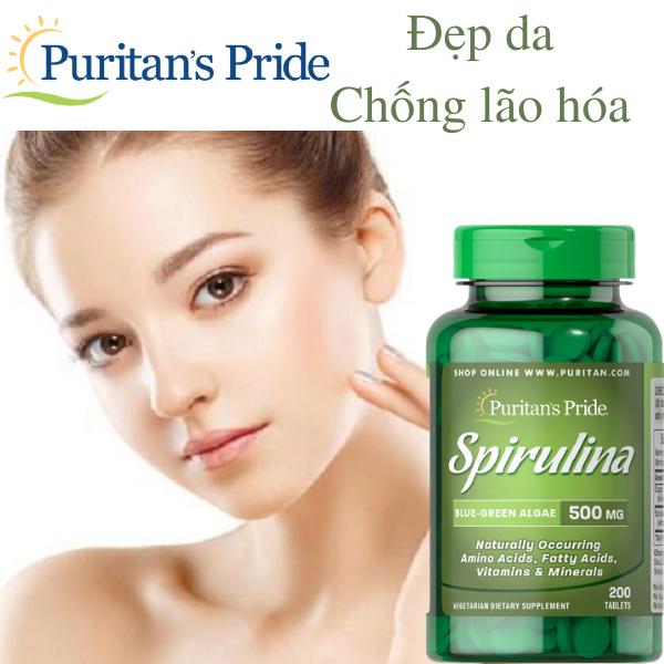 Viên uống tảo xoắn thải độc, giảm cân, chống lão hóa Puritans Pride- Spirulina 500mg 200 viên (HSD: 04/21) giá rẻ