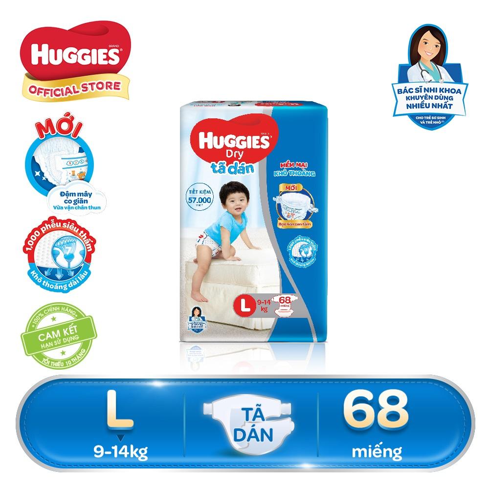 [GIẢM 40K ĐƠN 799K] Tã/bỉm dán Huggies Dry Super Jumbo L68 (Đệm mây co giãn) - Gói 68 miếng (Cho bé 9kg - 14kg)