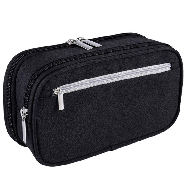 Mua Pencil Case, Large Capacity Pencil Cases Pen Bag Pouch Holder Travel Cosmetic Make Up Bag Pouch Cable Bag Pouch with Multi Compartments for School Students Office Adults, Black