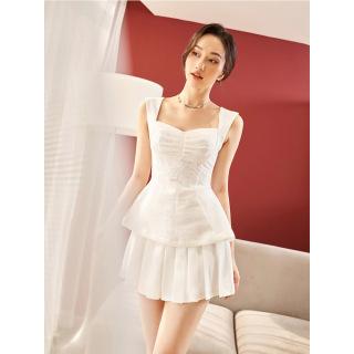 RECHIC Chân Pleta màu trắng váy xòe xếp ly xinh xắn gợi cảm thumbnail
