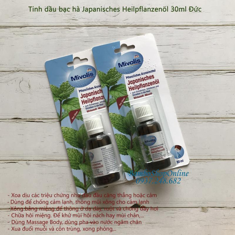 [Hàng nội địa Đức] Tinh dầu thảo dược bạc hà Japanisches Heilpflanzenö - Das Gesunde Mivolis. Giúp hết cảm cúm, xoa dịu các triệu chứng như đau đầu căng thẳng hoặc cảm,.. nhập khẩu