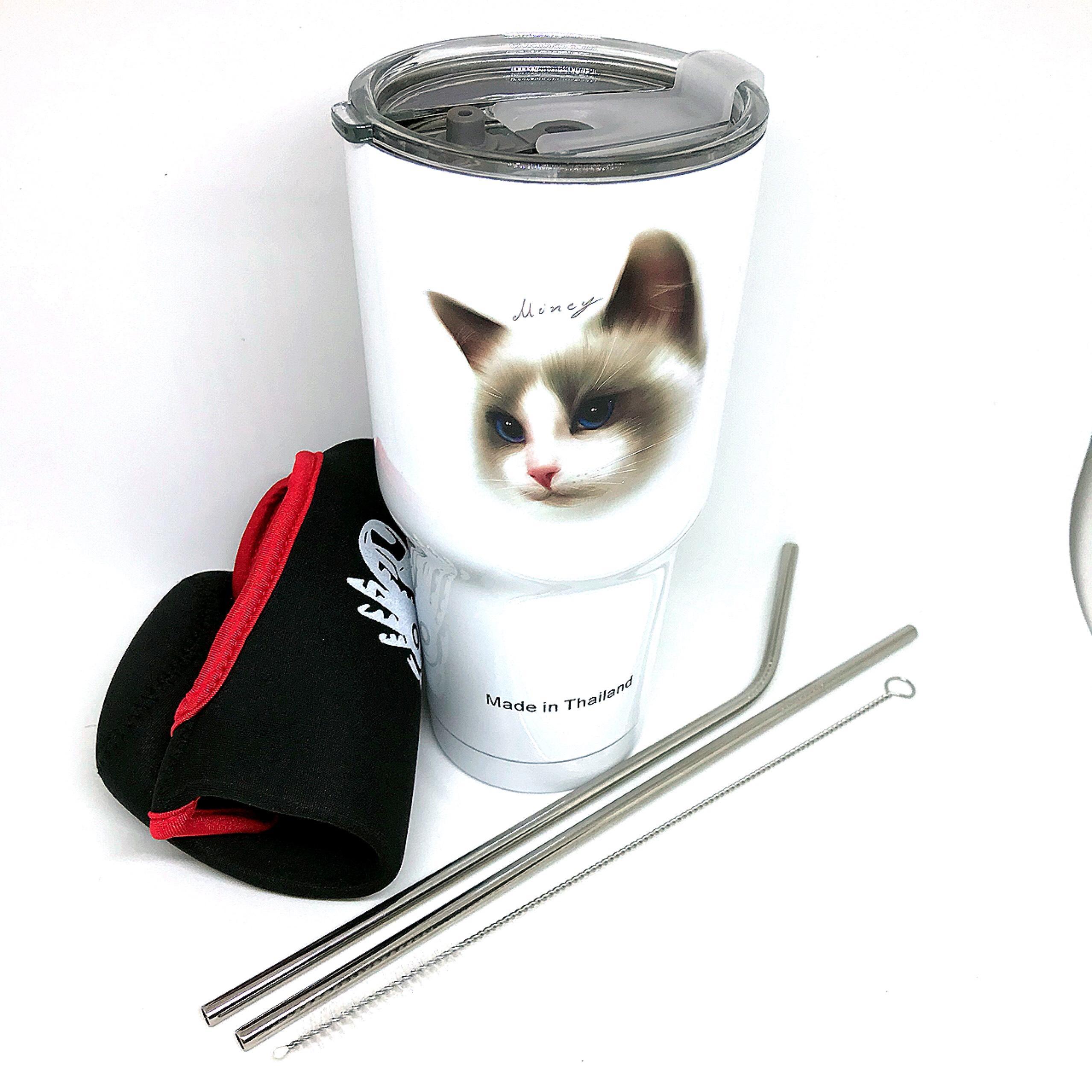 Ly Giữ Nhiệt Cao Cấp Thái Lan YETI 900ml Logo Mèo 3D Trắng + Tặng Kèm Bộ 2 Ống Hút, Cọ Rửa Và Túi Đựng Thời Trang
