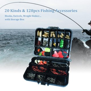 128pcs Fishing Accessories Hooks Swivels Weight Fishing Sinker Stoppers Connectors Sequins Lures Fishing Tackle Box - intl thumbnail