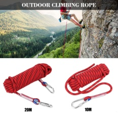Hình ảnh 12mm Multifunctional Core Heavy Duty Paracord Camping Climbing Tying Rope with Carabiner (Red-20m) - intl