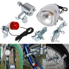 12V 6W Bicycle Motorized Bike Friction generator Dynamo Headlight Tail Light Kit - intl