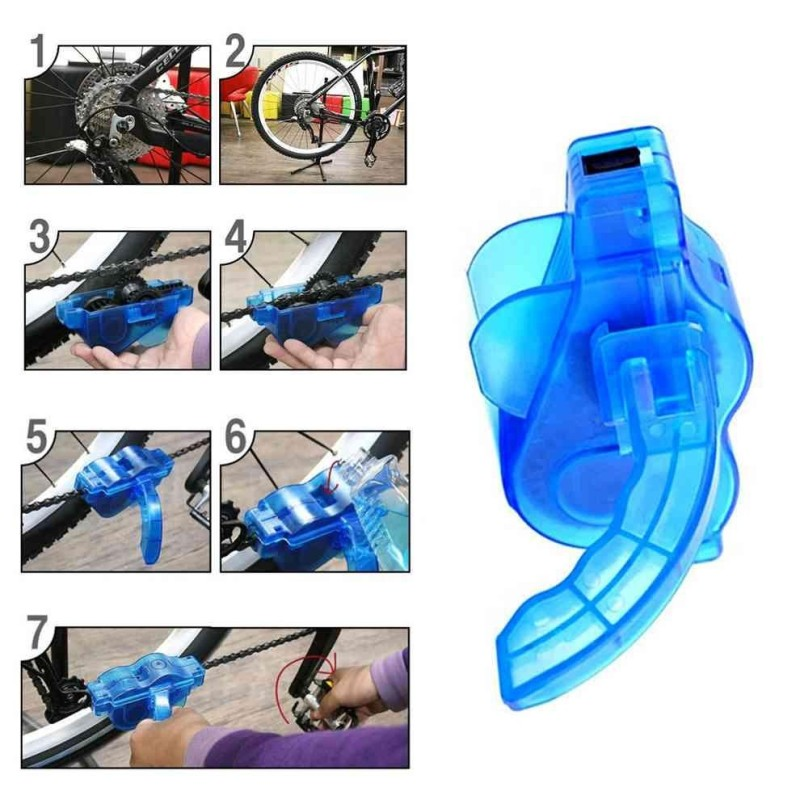 Mua 1pcs Bicycle Chain Cleaner Cycling Bike wheel Brush Scrubber Wash Tool Kit Mountaineer Bicycle Chain Cleaner Kits Blue - intl