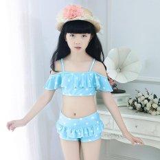Hình ảnh 2-12Y Child Little Girls Bikini Swimsuit Kids Baby Girl Swimwear Bathing Suit Summer (Hat+Shorts+Tops) - blue - intl