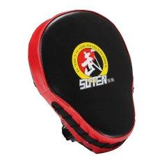Hình ảnh 23x19x5cm Boxing Glove Mitt Hand Target Focus Punch Pad For Karate MMA Training Red Edge Black Surface - intl