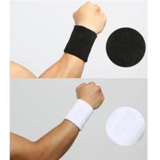 2 cái 8x10 cm Wrister Toweling Bảo Vệ Dây Đeo Tay Thể Thao Tập Gym Bracer Vòng Đeo Tay Nam Nữ Lắp nâng Trọng Lượng Chạy bóng rổ Bóng Đá Ngoài Trời 1228 (Đen + trắng)