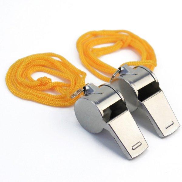 2 Còi thổi bằng kim loại có dây đeo cổ tiện lợi