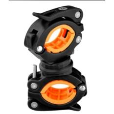 360° Cycle Bicycle Light Lamp Torch LED Flashlight Mount Bracket Holder Clip Black&Orange - intl