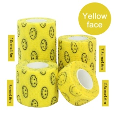 3Rolls Waterproof Bandage Gauze Wraps Elastic Adhesive First Aid Tape Stretch Yellow smile XL - intl