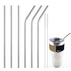 Hình ảnh 3X Inox Thời Trang Ống Hút Có Thể Tái Sử Dụng 0.5 inch Dài Thêm Bình Tập Uống Có Ống Hút Bạc-quốc tế