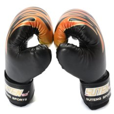5 OZ Children Kids FIRE Boxing Gloves Sparring Punching Fight Training Age 3-12 Black - intl