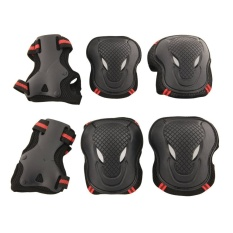 6pcs Adult Kids Cycling Roller Skating Cycling Set Knee Elbow Wrist Protective Gear Pads Support Set Size L (Black+Red) - intl